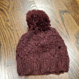 Anthropologie knitted faux pom beanie hat